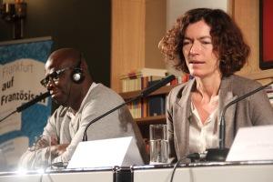 Boniface Mongo-Moussa und Anne Weber beim Abschlusspodium